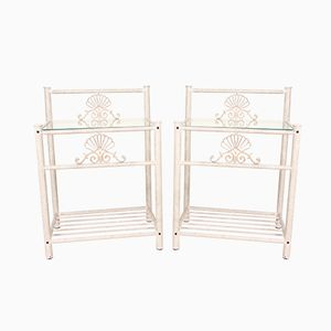 Vintage French Wrought Iron & Glass Side Tables, 1950s, Set of 2