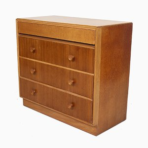 Vintage Oak Chest of Drawers with Writing Desk, 1950s