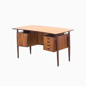 Freistehender Vintage Bumerang Schreibtisch aus Teak