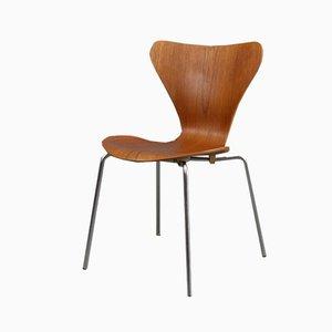 Silla Mid-Century de teca de Arne Jacobsen para Fritz Hansen