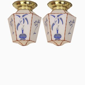 Art Deco French Ceiling Lamps, 1920s, Set of 2