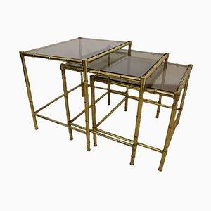 Tables Gigognes en Bronze Imitation Bambou, 1960s