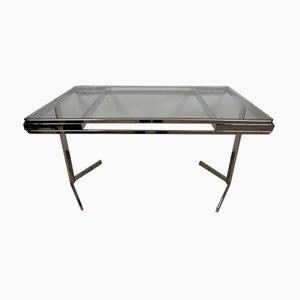 Vintage Nickeled Glass Dining Table