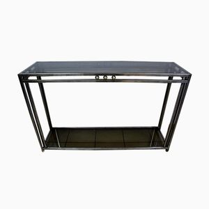Vintage Stainless Steel & Bronze Console Table