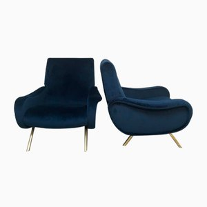Mid-Century Blue Velvet Lady Chairs by Marco Zanuso, Set of 2