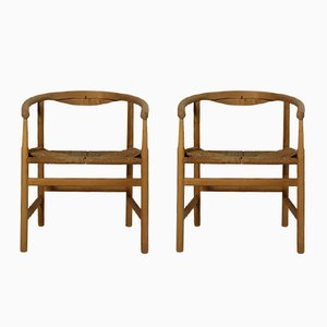 Vintage Armchairs by Hans J. Wegner for Johannes Hansen, 1970s, Set of 2