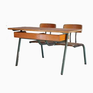 Mid-Century French School Desk and Seats
