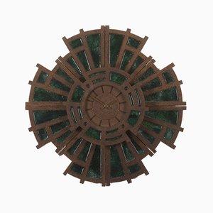 Horloge Murale Brutaliste Vintage en Ciment et en Verre