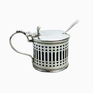 Antique Solid Silver Drum Mustard Pot from William Stokes & Arthur Ireland, 1920s