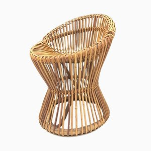 Vintage Italian Wicker Side Chair, 1950s