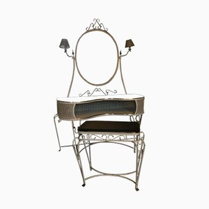 Hollywood Regency Style French Dressing Table & Stool, 1950s