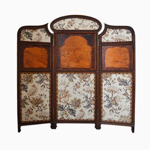 Art Nouveau 3-Panel Carved Wood Folding Screen, 1900s