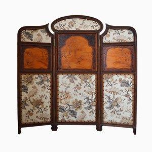 Biombo plegable modernista de tres paneles de madera tallada, década de 1900