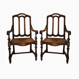 Neo-Gothic French Walnut & Rush Armchairs, 1890s, Set of 2