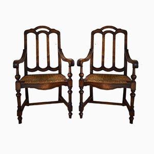 Neugotische französische Armlehnstühle aus Nussholz & Geflecht, 1890er, 2er Set