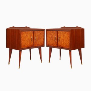 Mahogany & Elm Burl Veneer Nightstands by Paolo Buffa for Cantu, 1940s, Set of 2