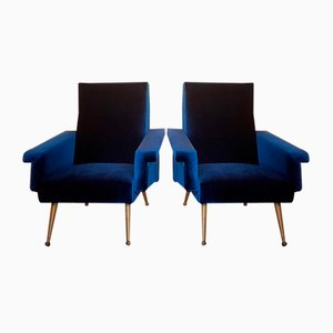 Vintage Blue Velvet Armchairs, 1950s, Set of 2