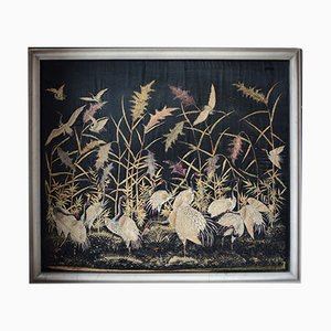 Large Antique Japanese Silk Red-Crowned Crane Embroidered Tapestry, 1890s