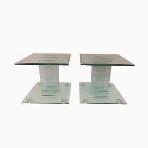 Tables d'Appoint Vintage en Verre Trempée, Italie, 1980s, Set de 2