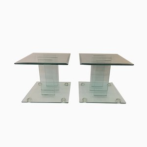Vintage Italian Tempered Glass Side Tables, 1980s, Set of 2