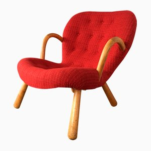 Fauteuil Modèle Clam Vintage en Tissu Rouge par Philip Arctander