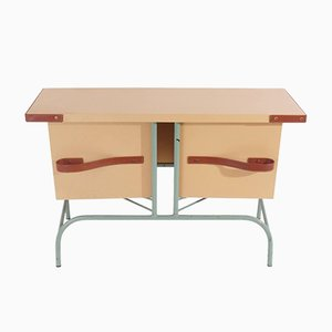 Vintage Console Table with Pivoting Drawers by Jacques Adnet, 1958