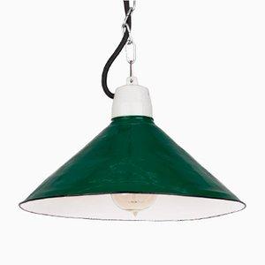 Lampe à Suspension d'Atelier Vintage Émaillé Vert Poli, 1960s