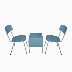 Light Blue & White Rockabilly Chairs and Side Table, 1950s