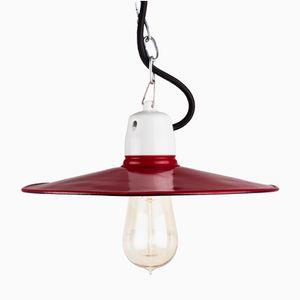 Dark Red Enamel Workshop Lamp, 1960s