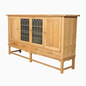 Large Vintage Danish Oak & Glass Sideboard, 1950s