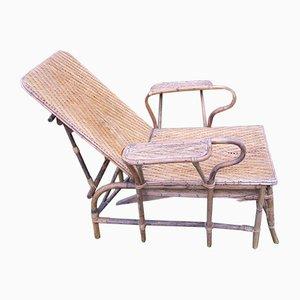 Sedia da giardino in vimini e bambù di Erich Dieckmann, anni '20