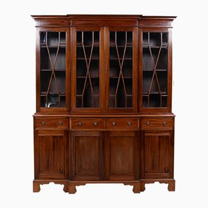 Mahogany & Glass Breakfront Bookcase, 1950s