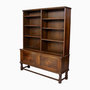Large Vintage Carved Oak Bookcase