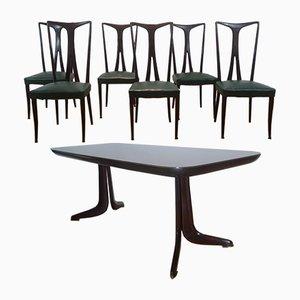 Mesa de comedor y seis sillas, años 50