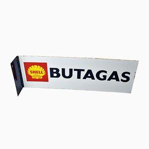 Doppelseitiges Shell Butagas Schild aus Emaille, 1970er