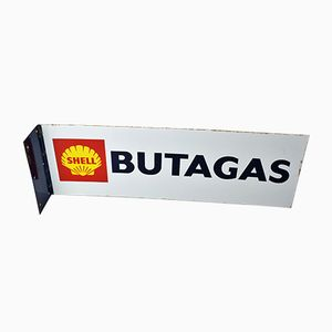 Shell Enamel Butagas Double-Sided Sign, 1970s