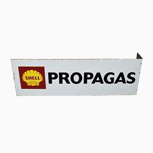 Doppelseitiges Shell Propagas Schild aus Emaille, 1970er
