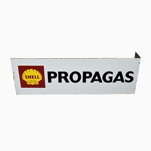 Shell Propagas Enameled Double-Sided Sign, 1970s