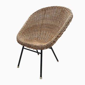 Rattan Bucket Chair mit hoher Rückenlehne von Dirk van Sliedregt für Rohé Noordwolde, 1960er
