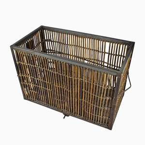 Large Industrial Laundry Cart with Casters & Rattan Sides, 1960s