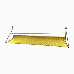 Dutch Yellow Perforated Metal Wall Shelf by Tjerk Reijenga for Pilastro, 1960s