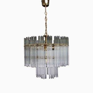 Lámpara de araña Mid-Century con tubos de vidrio de Honsel, años 60