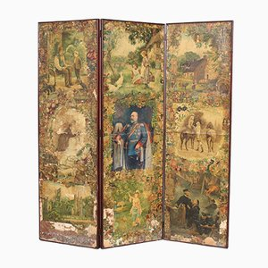 19th-Century Victorian Folding Four Panel Screen