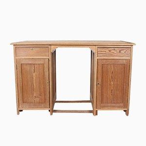 Vintage Doppelsockel-Schreibtisch aus Pinienholz