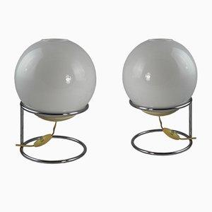 Lampade da tavolo sferiche, anni '70, set di 2