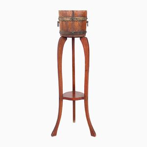 Vintage Coopered Oak Barrel Planter on Stand from R. A. Lister & Co