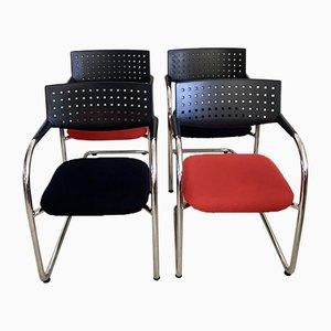 Visavis Stühle in Rot & Schwarz von Antonio Citterio & Glenn Olivier Löw für Vitra, 1990er, 4er Set