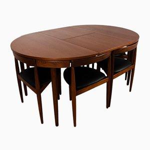Tavolo da pranzo allungabile con sei sedie di Hans Olsen per Frem Rojle, anni '50