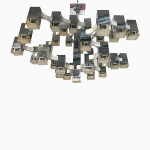Large Vintage Italian Cubic Chandelier from Sciolari, 1970s