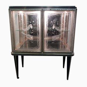 Mueble bar con serigrafía de vidrio curvado de Umberto Mascagni, años 50